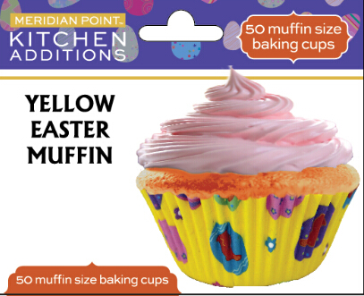 50CT MUFFIN EASTER YELLOW WITH MULTI COLOR EASTER EGGS-OUTLINED